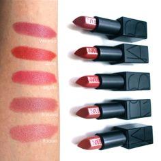 NARS Audacious lipstick swatches--Barbara and Raquel! Nars Audacious Lipstick Swatches, Makeup Swatches, Love My Makeup, Batons Matte, Tom Ford Makeup, Lipstick Tutorial, Lipstick Brands, Pink Lipsticks, Highlighter Makeup