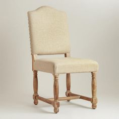 $339 for 2. acacia wood and linen. One of my favorite discoveries at WorldMarket.com: Linen Maddox Chairs, Set of 2