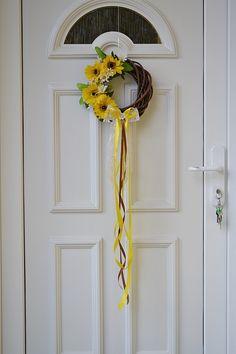 slnečnicový veniec na dvere