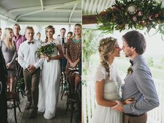 #boho #bohemian | Byron Bay Farm Wedding. Maybe out in the open instead of crowded under a small tent. Love her hair! But he needs a bow tie :)