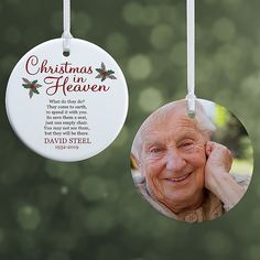 Christmas In Heaven Small 2 Sided Memorial Ornament - Christmas Gifts Christmas In Heaven Ornament, Christmas Holidays, Christmas Bulbs, Christmas Gifts, Christmas Decorations, Christmas Stuff, Christmas Ideas, Loved One In Heaven, Gift From Heaven