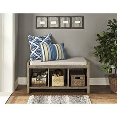Shoe Storage Bench With Cushion Benches For Entryway Hallway Sitting Entry Foyer #AvenueGreene