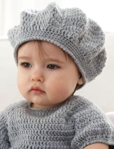 Yarnspirations.com: I Heart My Dress - FREE pattern - Sweet crochet dress with accent heart pockets and matching beret for ages 6 to 18 months (hva)