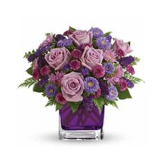 Fields of Lavender Roses Bouquet ($48) ❤ liked on Polyvore featuring home, home decor, floral decor, flowers, lavender rose, purple flower, purple rose, purple flower centerpieces, flower home decor and purple bouquets