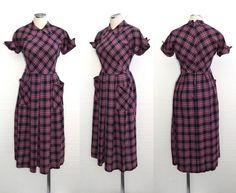 MARGIE MOORE 1940s Dress Vintage 1950s Pink by DeannesVintage