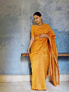 Chanderi - Yellow with Gold Chevron Print