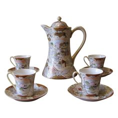 Antique Royal Satsuma Moriage Chocolate Pot Set - 10 Piece from whimsicalvintage on Ruby Lane. Such a beauty to see!