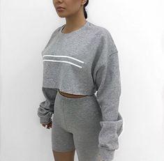 Pinterest: tkmaignan for more inspiration  50 shades of gray, biker shorts, long sleeve crop top