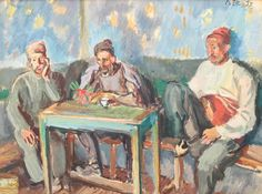 Turks at the Cafe : Iosif Iser : Expressionism : genre painting - Oil Painting Reproductions Oil Painting Reproductions, Romania, Art History, Parisian, Hand Painted, Fine Art, Canvas, Painters, Art