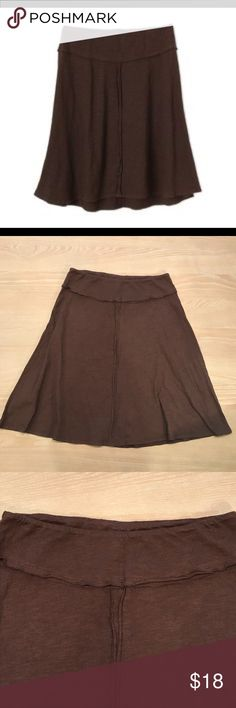 """Prana Brown Knit Flared Skirt Prana 100% organic cotton knit skirt. Elastic waist, A line style with four panels. Exposed seam details. Excellent condition. Length 22"""", waist width 14"""". Comment with any questions or make an offer. Prana Skirts"""