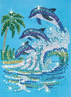 At Hobbies we stock a massive selection of Sequin Art beads craft kits. These can make great kids crafts and hobbys for adults. Sequin Crafts, Rhinestone Crafts, Mandala Art, Dolphin Craft, Marine Style, Cristal Art, Art Pierre, Jar Art, Dot Art Painting