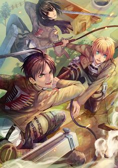 Eren, Mikasa, and Armin. I only had 3 favorite animes before (Death Note, Elfen Lied, and recently added SAO), Attack On Titan has been added as another rare favorite.