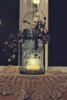 Decor for wedding. Love the mason jar and candle idea and just add some flowers that go with the colors of your wedding. - Click image to find more weddings posts