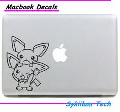 Two Cute Pikachu Cartoon Pokemon Sticker for Apple Macbook Skin Air 11 13 Pro 13…