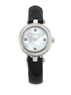GUCCI Diamantissima Diamond, Mother-Of-Pearl, Stainless Steel & Lizard Strap Watch. #gucci #watch