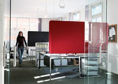 Sound Absorbing Panels by Matteo Thun. Also good for anything a wall can do (decoration, corkboard, projectin screen, etc) and a nice simple way to lower stress along with the noise.