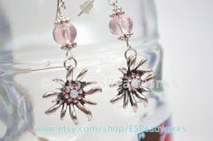 Rose Edelweiss Earrings Rose Dirndl Earrings by ESBeadworks
