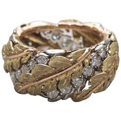 Gold and Diamond Band | 1stdibs.com