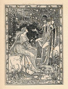 Prospero, Act 1. Scene II. Shakespeare's The Tempest, limited edition illustrations by Walter Crane, 1893