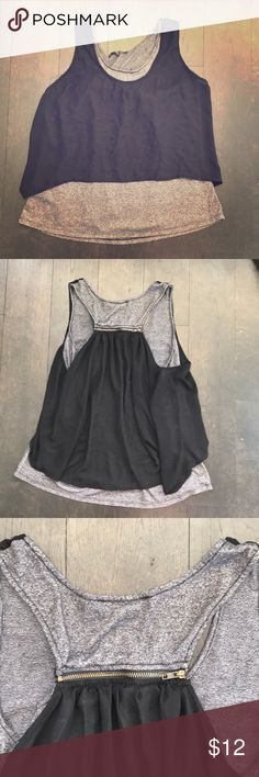 Layered tank top Grey and black layered racer back tank top with zip closure in back Tops Tank Tops