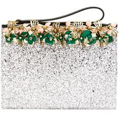 Marni embellished glitter clutch (17,810 MXN) ❤ liked on Polyvore featuring bags, handbags, clutches, glitter purse, glitter handbags, embellished purses, white clutches and embellished handbags