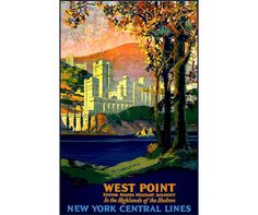 West Point 1923 New York Central System Railroad Vintage Poster Retro Art Print Train Travel Advertisement Free US Post Low Euro Post by VintagePosterPrints on Etsy