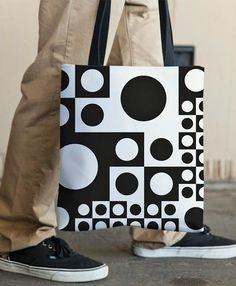 Black and white abstract seamless tote bag