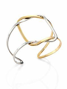 Delfina Delettrez 18K Yellow Gold & Sterling Silver Interlocking Two-Tone Cuff Bracelet