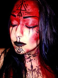 Voodoo witch doctor sorcerer makeup face paint woman girl cute sexy Halloween                                                                                                                                                     More