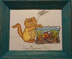 Luna-LuLu caught  in the fish bowl! Drawing I did for my Uncle Tio's 70th Birthday! 9/5/14❤
