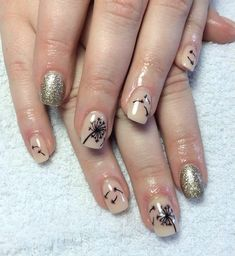 Take a look at this glamorous combination of glitter gold and nude matte colors for the base coating. Black Dandelion silhouettes are then painted over to depict the flower and its petals being gently blown by the wind. Purple Nail Designs, French Nail Designs, Nail Designs Spring, Nail Art Designs, Spring Nail Colors, Spring Nails, How To Do Nails, Fun Nails, Dandelion Nail Art