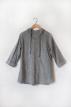 Handkerchief Linen Hoodie in Blue/Gray by AndieDayDesign on Etsy Linen hoodie/ linen tunic/ linen blouse/ linen shirt