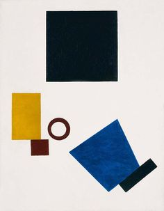 Artist: Kazimir Malevich ~ Medium: Paint (unknown) ~ Size: Unknown ~ Title: not found ~ The abstract piece creates balance using bold shapes, placed asymmetrically, yet thoughtfully, utilizing a broad space.