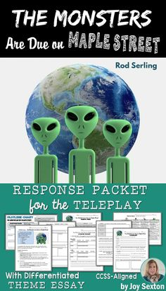 Here's a print-and-go packet of CCSS-aligned resources for the teleplay by Rod Serling. Attractively-designed handouts focus on vocabulary, plot details, characterization, and theme. Includes two differentiated writing assignments--one is a full Theme Essay with organizer and rubric.