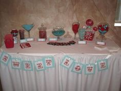 love this cady buffet Red Candy Bars, Valentine Ideas, Valentines, Sell Wedding Dress, Candy Buffet, Buffets, Dessert Bars, Tiffany Blue, White Dress