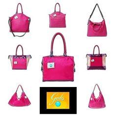 Naisellisesta fuksianpunaisesta pitävän asukokonaisuuteen kuuluu tietenkin sävy sävyyn oleva laukku! Gabsin käytännöllinen Edera-laukku (ylärivissä), romanttisesti nimetty Love Me Do (keskellä), tai linjakas Gardenia ovat oivia valintoja.