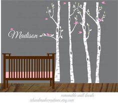 Birch Trees & birds Wall Decal Vinyl Wall by ishandmadecreations, $98.00
