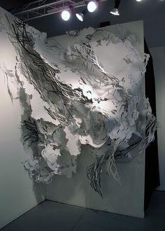 SUBITO, 2010Paper, India ink, paperclips, tacks9 feet(h) x 5.5 feet (w) x 3 feet (d)Pulse Art Fair, NY