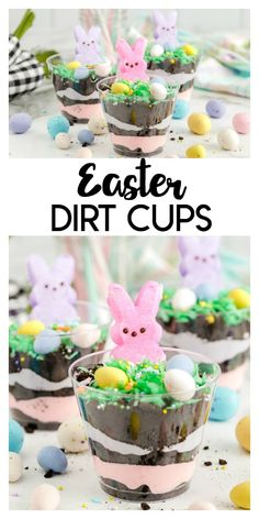 Easter Dirt Cups: a delicious Oreo dirt dessert recipe with Easter Peeps and candy eggs. It's a delicious chocolate and pudding treat. recipes appetizers recipes brunch recipes brunch breakfast bake recipes for kids easter recipes easter recipes brunch Oreo Dirt Dessert, Dessert Cups, Dessert For Dinner, Dessert Recipes, Recipes Dinner, Holiday Recipes, Easter Candy, Easter Treats, Easter Peeps