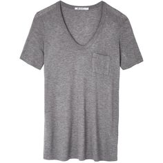 T By Alexander Wang Classic T Shirt ($96) ❤ liked on Polyvore featuring tops, t-shirts, heather grey, relaxed fit tops, relax t shirt, short sleeve t shirt, short sleeve tops and slouchy tee