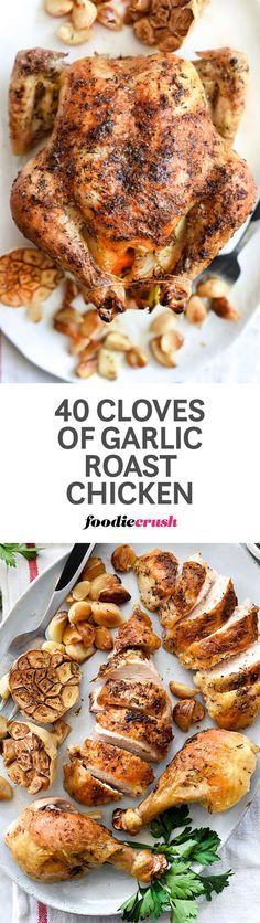 Garlic becomes soft and sweet when roasted alongside this whole roasted chicken, infusing a mellowed garlic flavor for everyone's favorite chicken dinner | foodiecrush.com #garlic #chicken #roastchicken