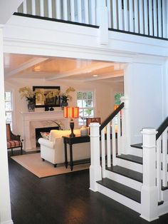 ARTICLE: When Designing On Trend Is NOT Appropriate...   Image Source: Cottage & Vine   CLICK TO READ... http://carlaaston.com/designed/trendy-design-is-not-always-appropriate  (KWs: stairway, stairs, trend, design, iron railing, wood railing)