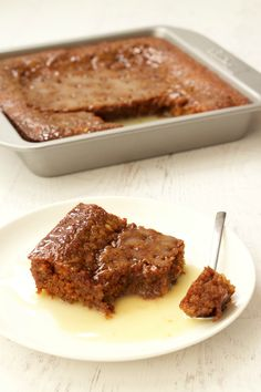 This South African dessert favorite is served warm and is rich, sticky, Vegan Bread Pudding, Pudding Recipes, Fall Desserts, Vegan Desserts, Vegan Recipes, South African Desserts, Malva Pudding, Sticky Date Pudding, Plant Based Eating