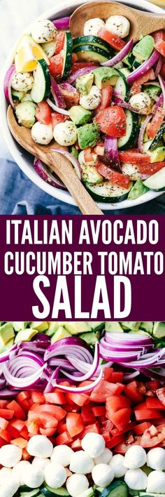 Italian Avocado Cucumber Tomato Salad is a fresh and delicious salad filled with avocado, tomato, red onion, cucumber and mozzarella cheese balls. Tossed in a tangy lemon Italian glaze and topped with feta cheese, you won't be able to get enough!
