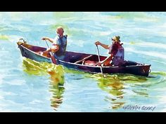 Painting a watercolour - Men in a canoe - YouTube
