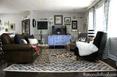 Leather couch and rug