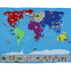 interactive world map - fabric with embroidered geography labels - can buy additional velcro people, landmarks and animals for hands on learning