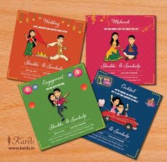 Vibrant and colorful insoles symbolize the richness and colors that underlie every Indian wedding ceremony. An expressive yet funny cartoon underlines the couple's personality. Why be serious when the wedding is all about love, laughter and happy life? Indian Wedding Invitation Cards, Wedding Invitation Card Design, Creative Wedding Invitations, Pink Invitations, Invitation Ideas, Invitation Wording, Wedding Stationery, Indian Invitations, Scroll Invitation