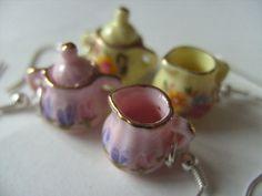 Alice in Wonderland tea party earrings milk jug by NewellsJewels