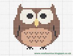 Free cross stitch owl pattern from Craft Novice. Cross Stitch Owl, Cross Stitch Charts, Cross Stitching, Cross Stitch Embroidery, Embroidery Patterns, Cross Stitch Patterns, Owl Patterns, Knitting Charts, Pixel Art